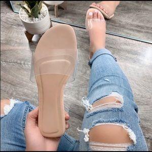 Clear Transparent Nude Strap Slide Sandal